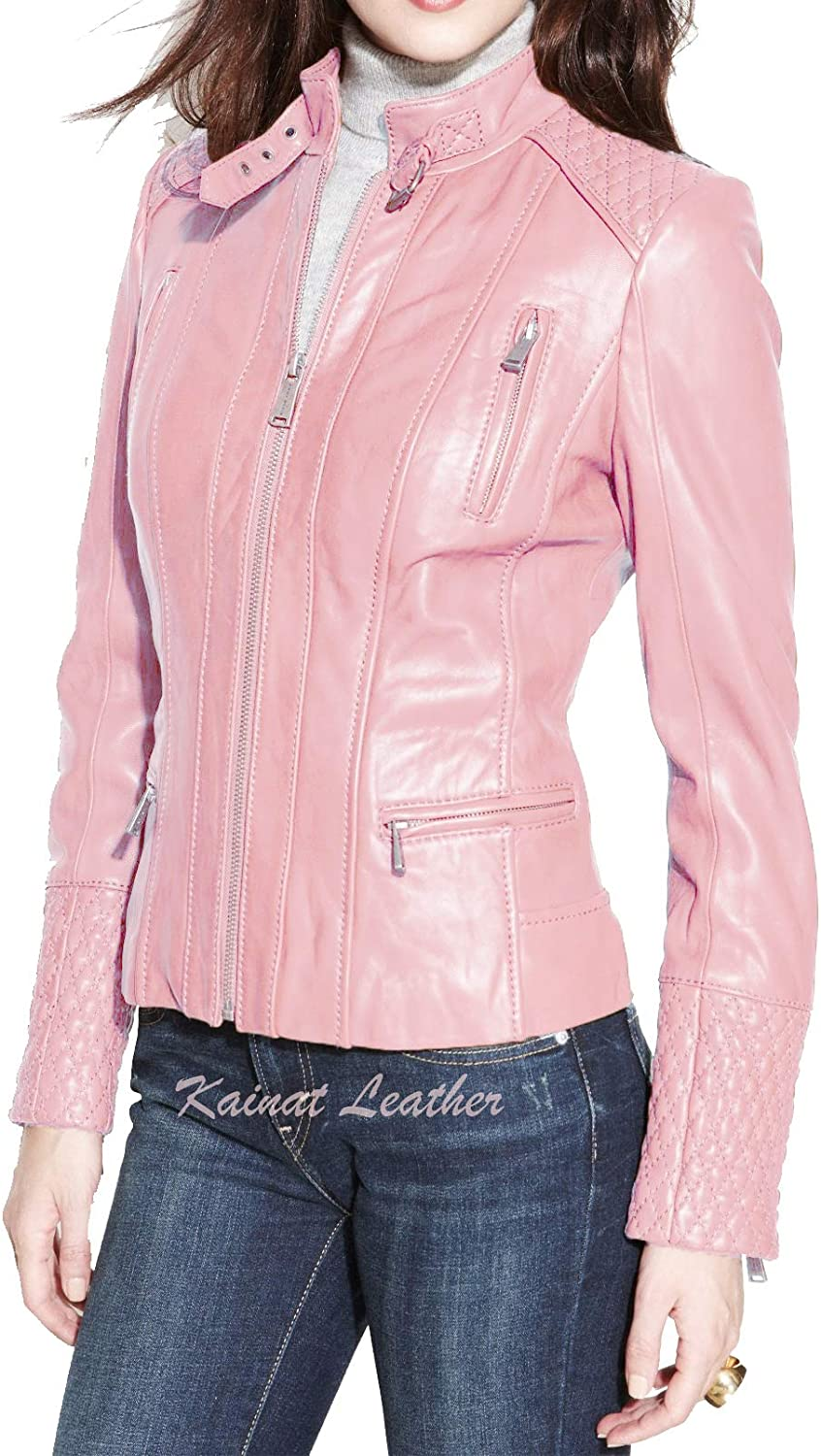 All items free shipping KAINAT Quality inspection Women's Motorcycle Bomber Biker Leather H Jacket Lambskin