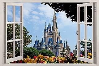 TWIN ZONE Disney Castle 3D Window Effect Decal Wall Sticker Mural Disney for Children's Room J168, Huge