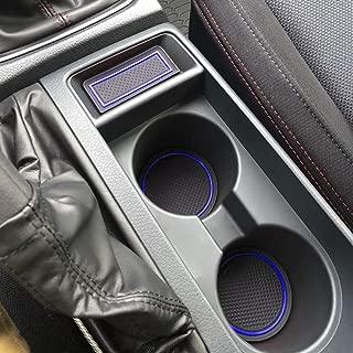 SENSHINE Cup Liner Door Mat for Subaru WRX 2015 2016 2017 2018 2019 2020 Center Console Liner Insert Accessories Kit Custom Fit(Blue Trim)