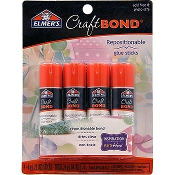 Elmer's CraftBond Glue Sticks, Repositionable, 0.21 Ounces, 4 Count, 4-Pack, Clear