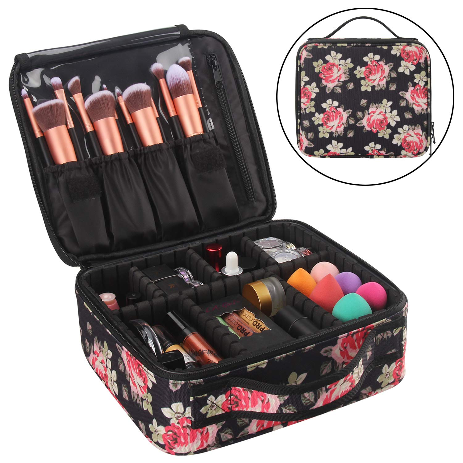 Chomeiu Marble Makeup Case, Marble Cosmetic Bag Marble Makeup Bag Waterproof for Cosmetics Tools with Adjustable Dividers (Marbl