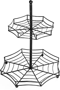 The Lakeside Collection Halloween Spider Web 2-Tier Serving Tray - Spooky Tabletop Accent