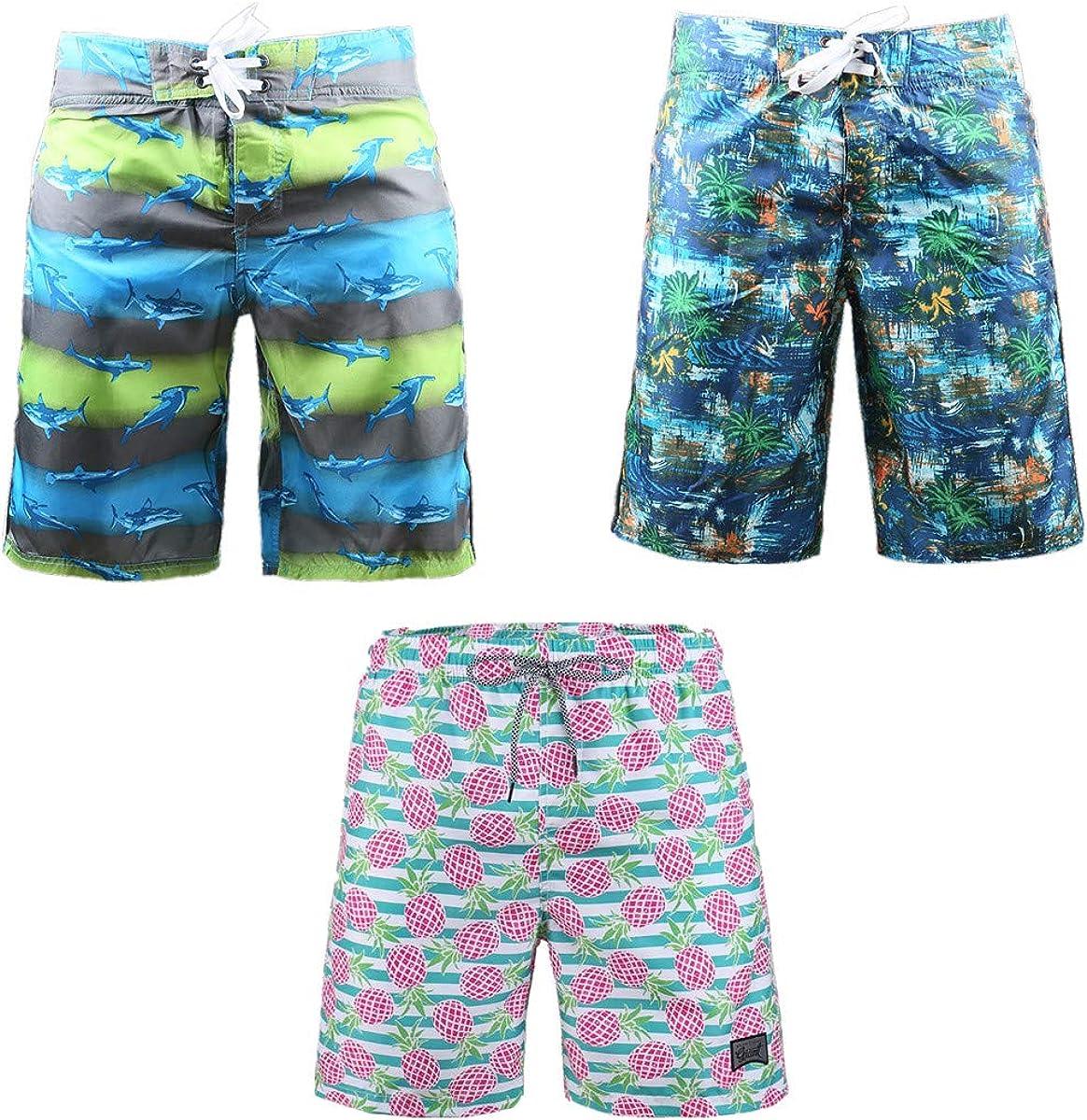 3-Pack Men's Board Shorts Elastic Waist Vacation Beach Swimming Soft Comfy Waterproof Swim Pants