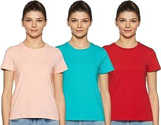 Amazon Brand - Symbol Women's Solid Regular Fit Half Sleeve T-Shirt (Pack of 3)