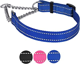 """CollarDirect Martingale Dog Collar Training Adjustable Stainless Steel Chain Reflective Nylon Pet Choke Collars for Medium Large Dogs (S, Neck Fit 12""""-18"""", Blue)"""
