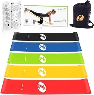 TOPLUS fitnessband/motståndsband, set med 5, instruktioner på tyska och bärväska, 5 x träningsband, motståndsband, träning...