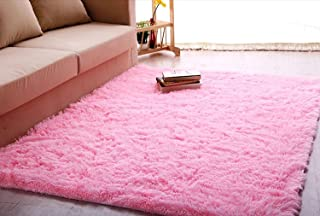 ACTCUT Ultra Soft 4.5 cm Thick Indoor Morden Shaggy Area Rugs Pads, Fashion Color Bedroom Livingroom Sitting-Room[Rugs Blanket Footcloth for Home Decorate Size: 2.5 Feet X 5 Feet (Pink)