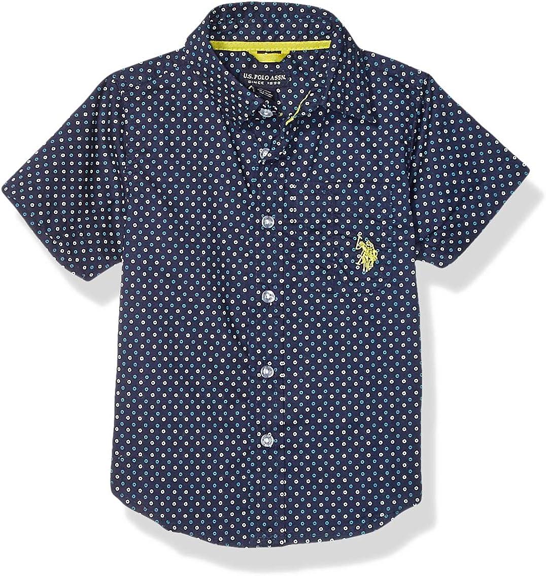U.S. Polo Assn. Boys' Short Sleeve Printed Woven Shirt