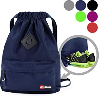 WANDF Drawstring Backpack String Bag Sackpack Cinch Water Resistant Nylon for Gym Shopping Sport Yoga