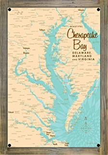 Chesapeake Bay MD Virginia Vintage-Style Map Metal Print on Reclaimed Barn Wood by Lakebound (12