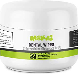 MOKAI Dental Wipes for Dogs and Cats | Pads with Chlorhexidine and Sodium Hexametaphosphate Remove Plaque Tartar Buildup C...