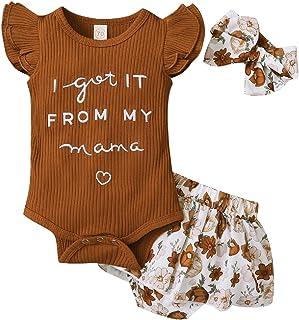 Haokaini bébé Enfant en Bas âge Fille Tenue Florale Lettre imprimé Barboteuse Pantalon à Fleurs Bandeau Ensemble de vêteme...