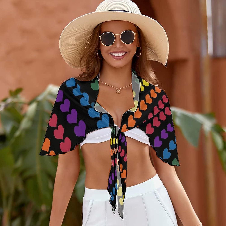 Women Beach Wrap Skirts Rainbow Heart Love Personalized Bikini Swimwear Beach Cover Up