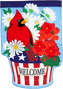 Evergreen Flag Beautiful Patriotic Cardinal and Flowers Applique Garden Flag - 13 x 1 x 18 Inches Fade and Weather Resistant Outdoor Decoration For Homes, Yards and Gardens