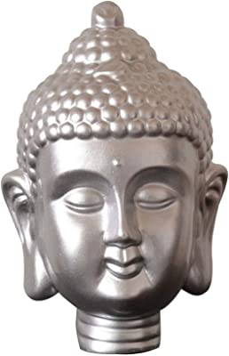 Benjara Modern Buddha Head Sculpture with Beaded Ushnisha, Silver