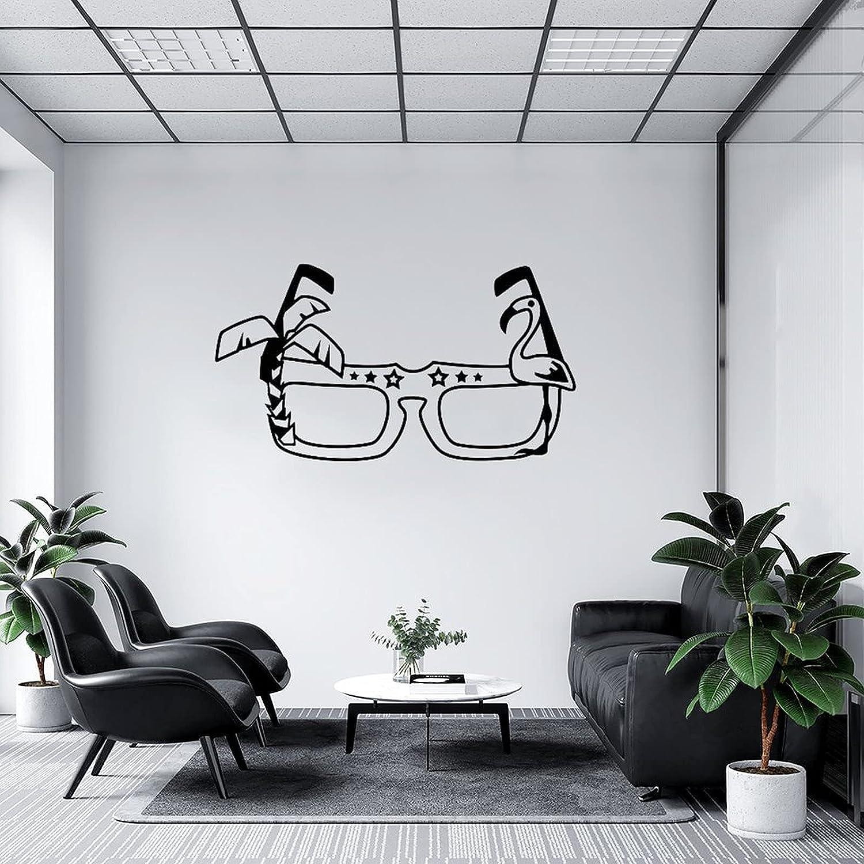by Unbranded Pegatinas de pared para gafas de sol con palmera y flamenco negro 03 calcomanía de vinilo para coches | Adhesivo de pared murales de arte decoración fresca 35.5 pulgadas de ancho