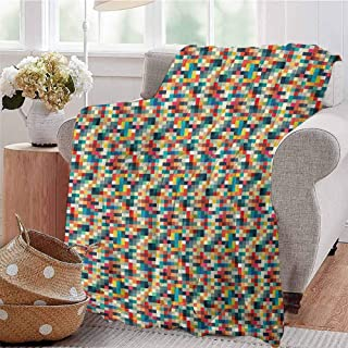 Luoiaax Geometric Children's Blanket Pixel Art Inspired Checkered Squares Grid Illustration Colorful Abstract Design Lightweight Soft Warm and Comfortable W70 x L84 Inch Multicolor
