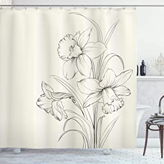 Lunarable Flower Shower Curtain, Hand Drawn Sketch Style Blooming Narcissus Design with an Off-White Background, Cloth Fabric Bathroom Decor Set with Hooks, 75