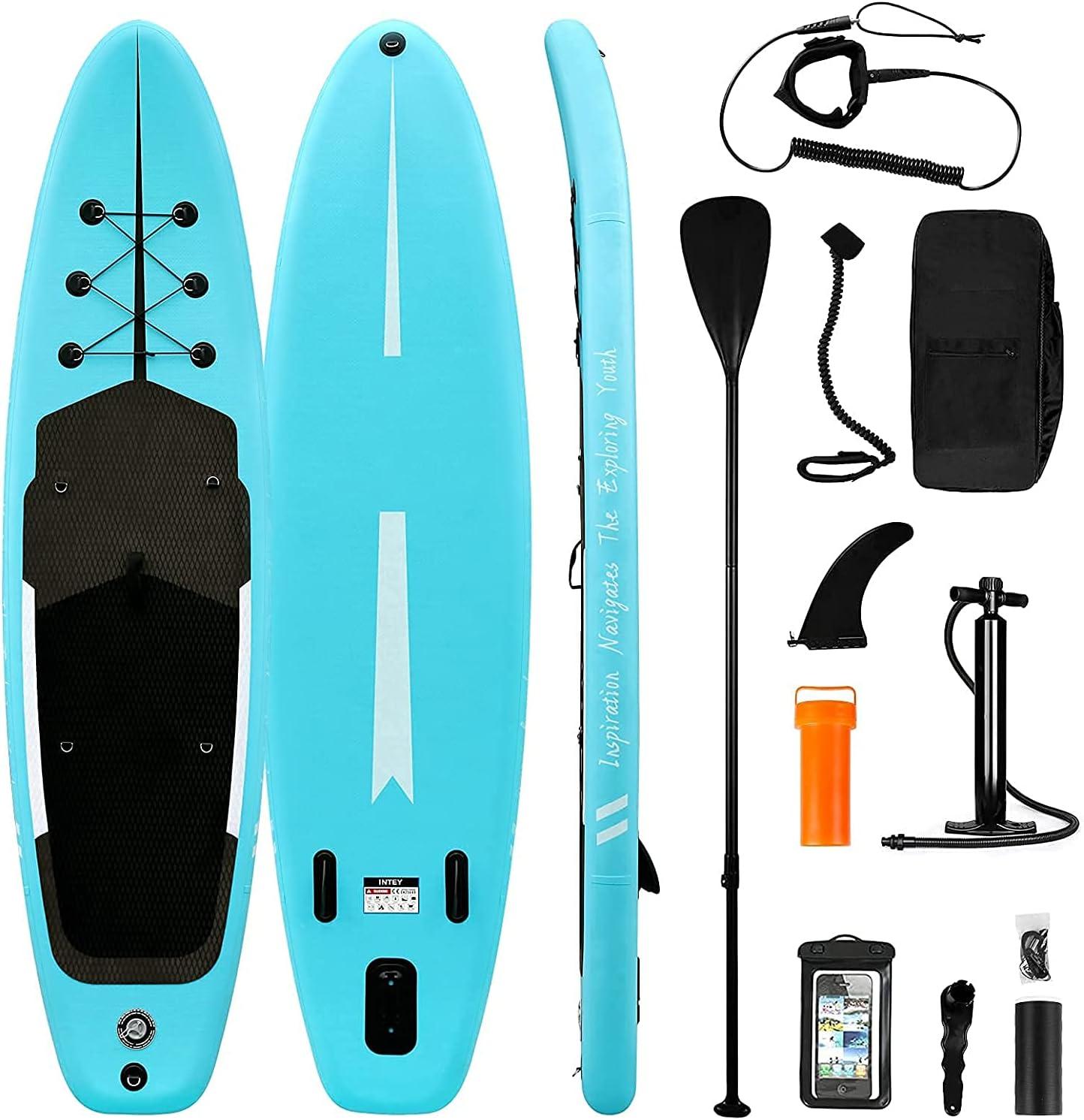 Tabla de Paddle Surf Hinchable Sup Inflatable Stand up Paddle Board PVC con Bomba de Doble, Remo Ajustable, Caja de reparación, alerón, Bolsa de Transporte