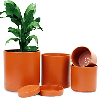 OurWarm Plastic Pots for Plants, Set of 4 Terra Cotta Plastic Planter, 7/6/5/4 Inch Flower Pots Indoor with Saucers and Dr...