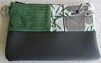 Wallet - Charley Harper Koala Bears Key Ring Wallet in Gray Vegan Leather