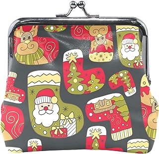 Jereee, Calcetines de Papá Noel con diseño de alce de Navidad, monederos de estilo vintage, de piel sintética, para mujeres, niñas, adolescentes y niños