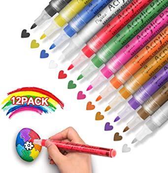 STA Metallic Paint Marker Pens Use in Art Crafts Party Wedding Festival 6 Colors