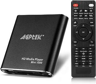 AGPTEK HDMI mediaspelare, mini 1080p full-HD Ultra HDMI digital mediaspelare för -MKV/RM- HDD USB-enheter och SD-kort (svart)