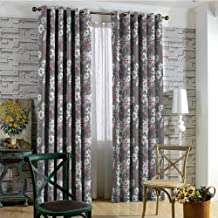 Floral Blackout curtains - gasket insulation Spring Season Illustration with Greyscale Backdrop Nature Composition Blackout curtains for the living room W84 x L96 Inch Pale Grey Vermilion Grey