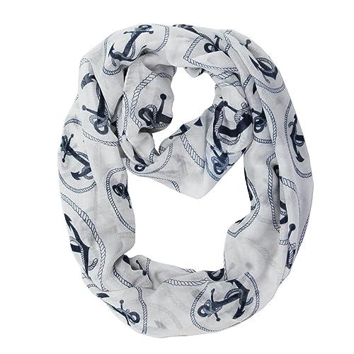 f965fd111b053 MissShorthair Lightweight Nautical Marine Anchor Print Infinity Scarfs for  Women (1 White)