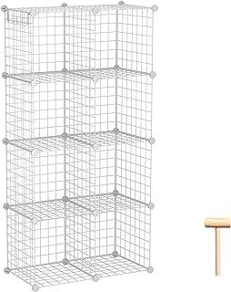C&AHOME Cubes de rangement en fil métallique, étagères modulaires, bibliothèque empilable, 8 cubes, organiseur pour maison...