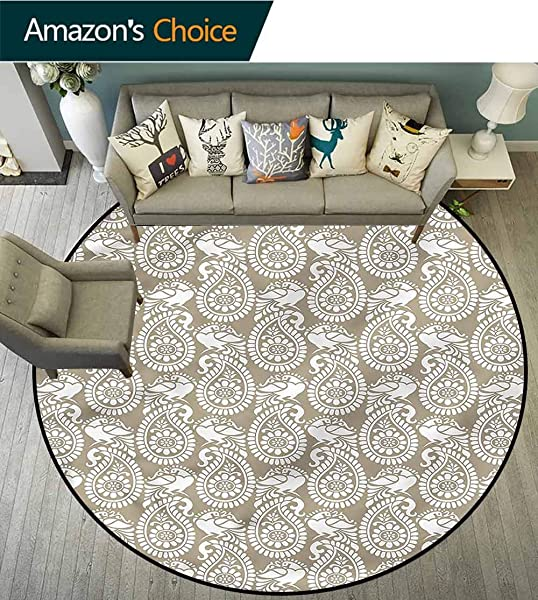 RUGSMAT Paisley Round Kids Rugs Ancestral Symbol With Bird Living Room Bedroom Desk Chair Mats Round Diameter 47