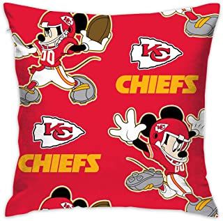Dalean Kansas City Chiefs Creative Cartoon Pillowcase, Zipper Pillowcase, Office Pillowcase (17.7