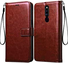 Frazil Vintage Leather Flip Cover Case for Oppo F11 Pro | Inner TPU | Foldable Stand | Wallet Card Slots - Chestnut Brown
