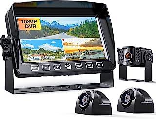"$267 » 1080P Backup Camera with 7"" Monitor w/Advanced Recorder for RV Trailer Semi Box Truck Camper 5th Wheel, 3 FHD Waterproof R..."