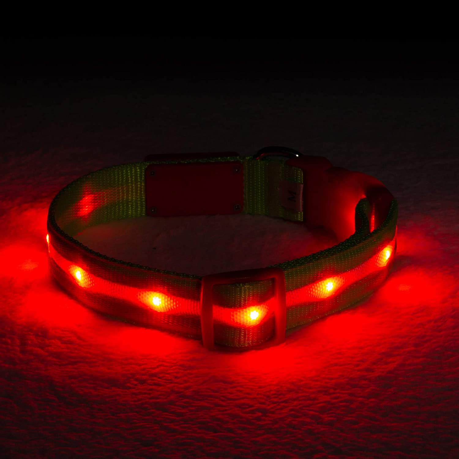 Blazin' Safety LED Dog Collar  USB Rechargeable with Water Resistant Flashing Light  Medium Christmas