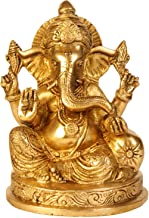 Ganesha Statue Brass Hinduism in India Religious Items Hindu Temple Puja6.5 inch