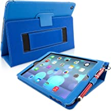 Snugg iPad Air & New iPad 9.7 inch 2017 Case - Smart Cover Case with Kick Stand & (Electric Blue Leather) for the Apple iPad Air 1 (2013)