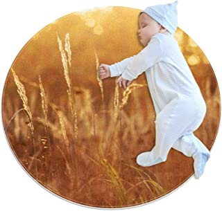 Sunny Sunset Nature Grass View Baby Play Mat algodón piso gimnasio – no tóxico antideslizante reversible lavable para bebé...