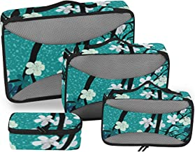 Spring Theme Blossom Tree Packing Cubes 4 Set Travel Organizer Accessories Storage Bag for Luggage Suitcase