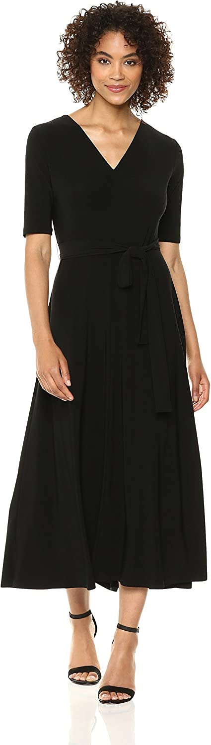 Chaus Womens Lisa Elbow Sleeve Tie Waist VNeck Dress Dress