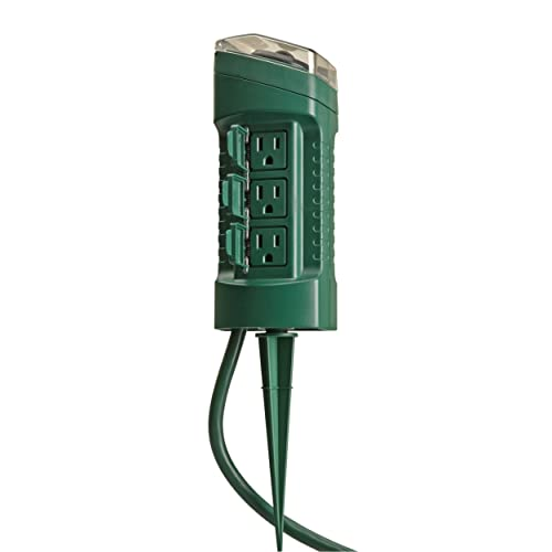 Woods 13547WD Outdoor Yard Stake with Photocell and Built-In Timer, 6  Grounded Outlets - Outdoor Christmas Lights: Amazon.com
