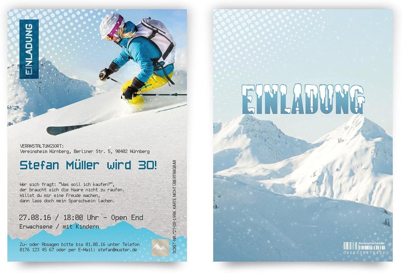 Einladungskarten zum Geburtstag Geburtstag Geburtstag (60 Stück) als Skipass - Apres Ski Einladungen B00PY3WXMG | Sehr gute Farbe  1672dd