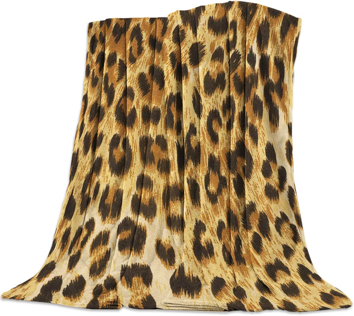 YEHO Art Gallery 39x49 Inch Flannel Fleece Bed Blanket Soft Throw-Blankets for Girls Boys,Cool 3D Leopard Leopard Print,Cozy Lightweight Blankets for Bedroom Living Room Sofa Couch