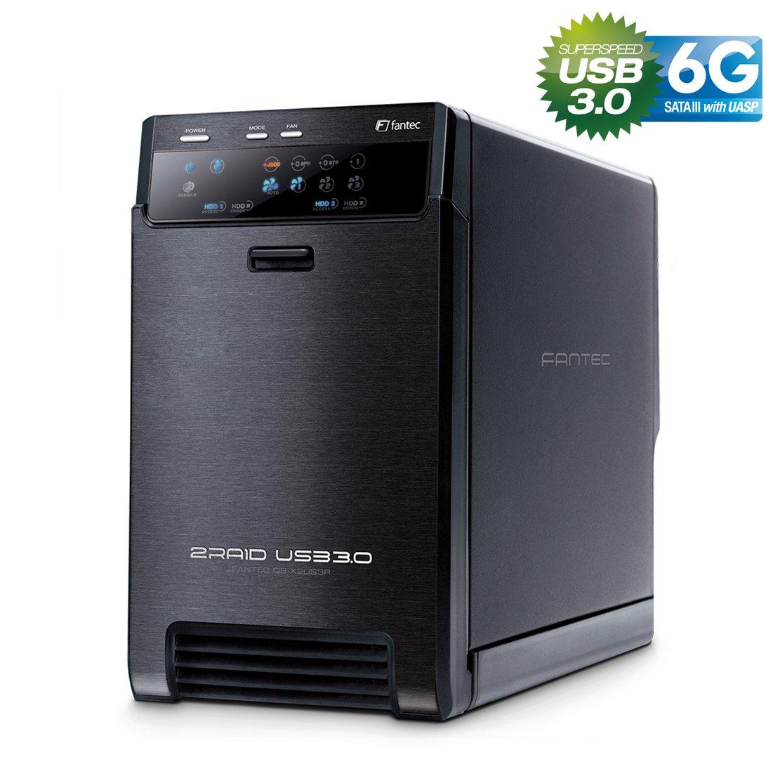FANTEC QB-X2US3R - carcasa externa para el montaje de 2 discos duros de 8,89 cm (3,5) SATA I/II/III, USB 3.0, función RAID , ventilador de 60mm, negro: Amazon.es: Informática