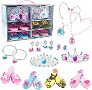 ANPETBEST Princess Dress Up Shoes Set 4 Pairs of Shoes, 2 Rings, Tiaras, Bracelets, Earrings and Necklaces Jewelry Accesso...