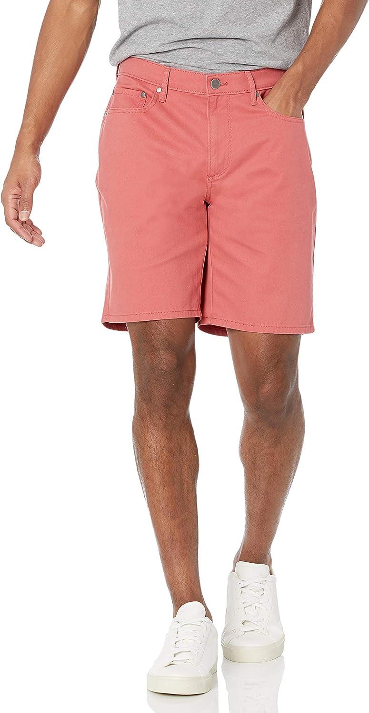 Amazon Essentials Pantalón Corto de Ajuste Recto con 5 Bolsillos y Entrepierna elástica de 9 Pulgadas Hombre