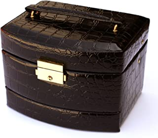 Focuseparts FOCUS EPARTS174; 3 Layer 10 Rings 5 Slots Black Leather Jewelry Box for Rings Accessories w/Carrying Handle and Crocodile Finish