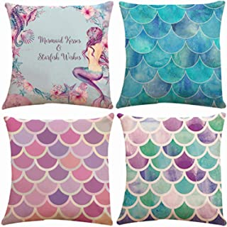 Set of 4 Mermaid Scales Decorative Throw Pillow Covers 18 x 18 Inch Double Side Design, ZUEXT Blue & Red Cotton Linen Cush...