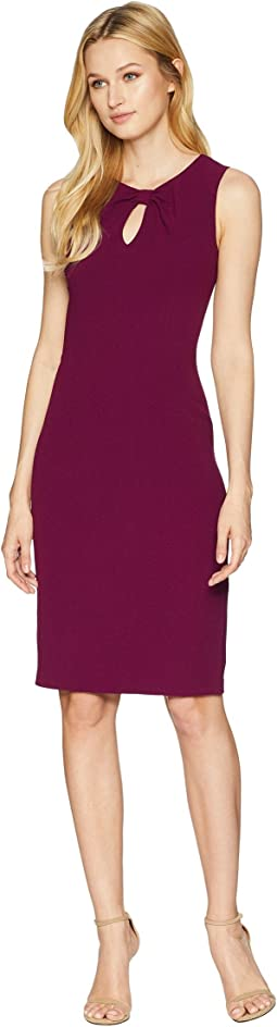 Textured Crepe Draped Neckline Sheath Dress